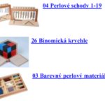 zakoupené hračky a pomůcky